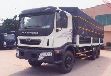 Xe tải Daewoo Prima 3 chân HU6AA thùng mui bạt đời 2020