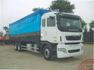 Xe tải thùng Daewoo 3 chân GL8KN mui bạt thung dài 9 m6